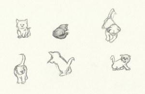 Sketches of kittens doing cute kitten things